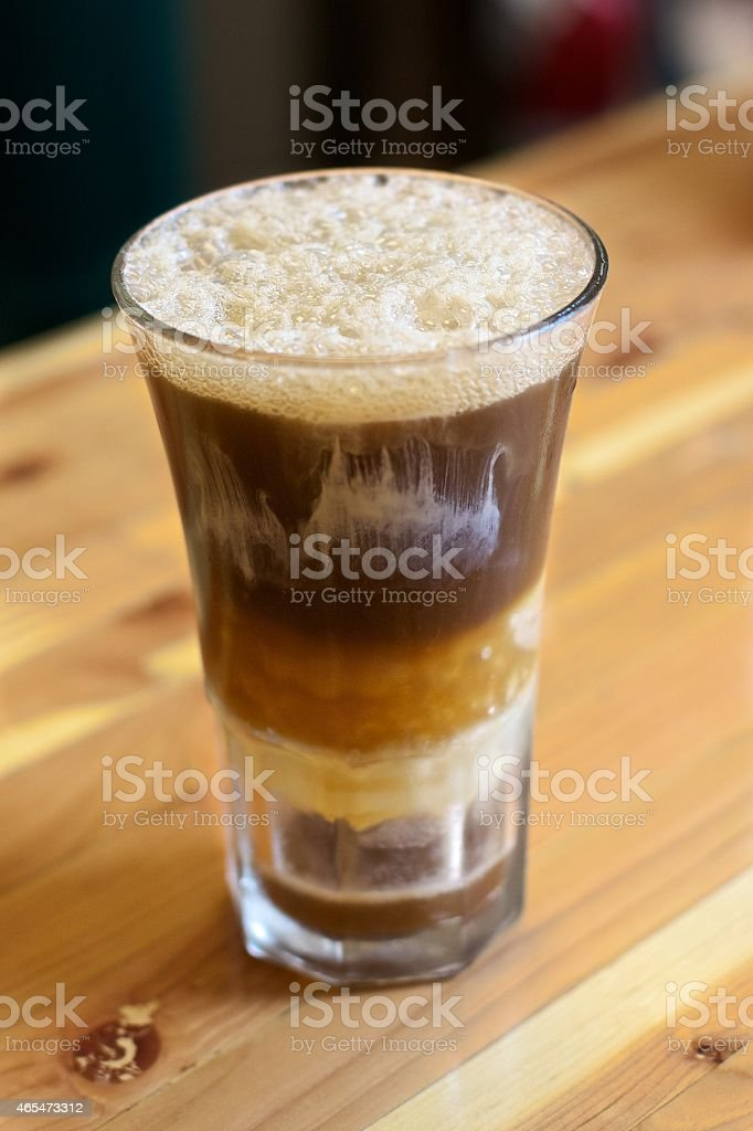 Root Beer Float on counter stock photo