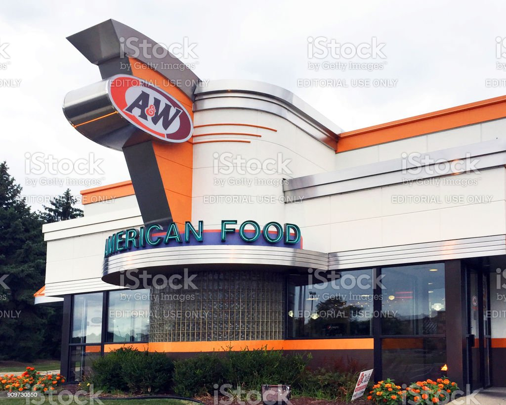 A&W Root Beer restaurant stock photo