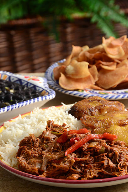 ropa vieja - caribbean food stock photos and pictures