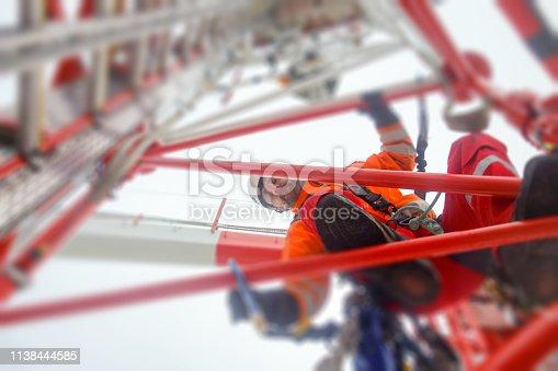 Antenna, climbing, hooks, rope access, red, industrial climber, Wireless tech.