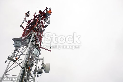 Antenna, climbing, hooks, rope access, red, industrial climber, Wireless tech., inspection,