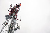 Antenna, climbing, hooks, rope access, red, industrial climber, Wireless tech., inspection,