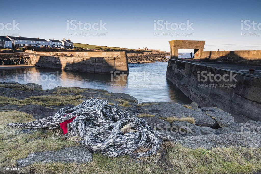 Rope at Craster Harbour stock photo