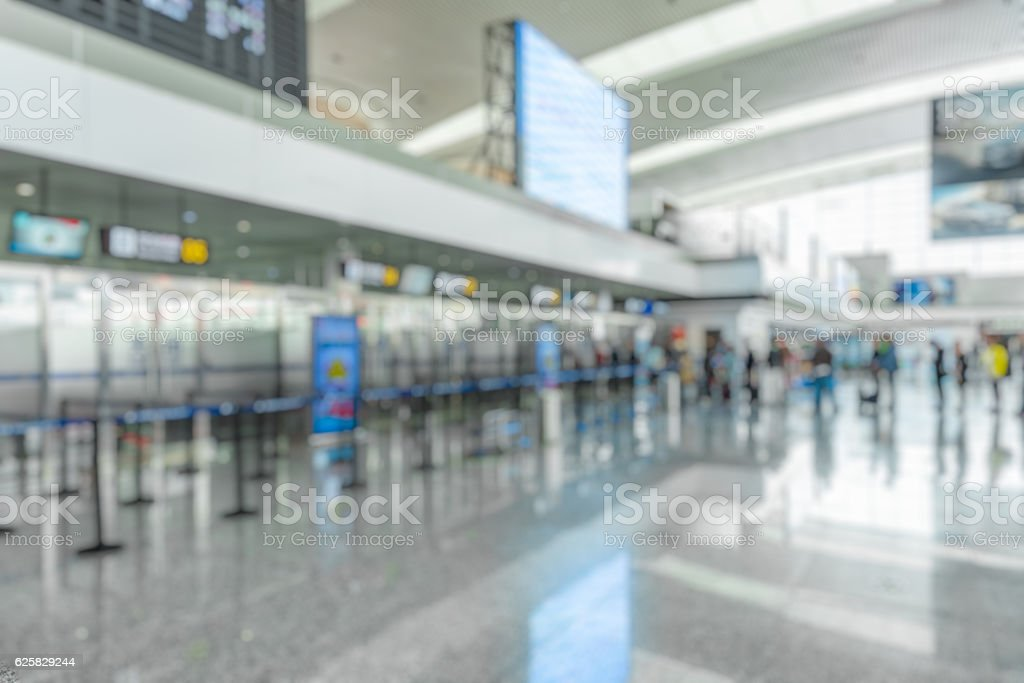 Rope barriers in Shenzhen airport stock photo