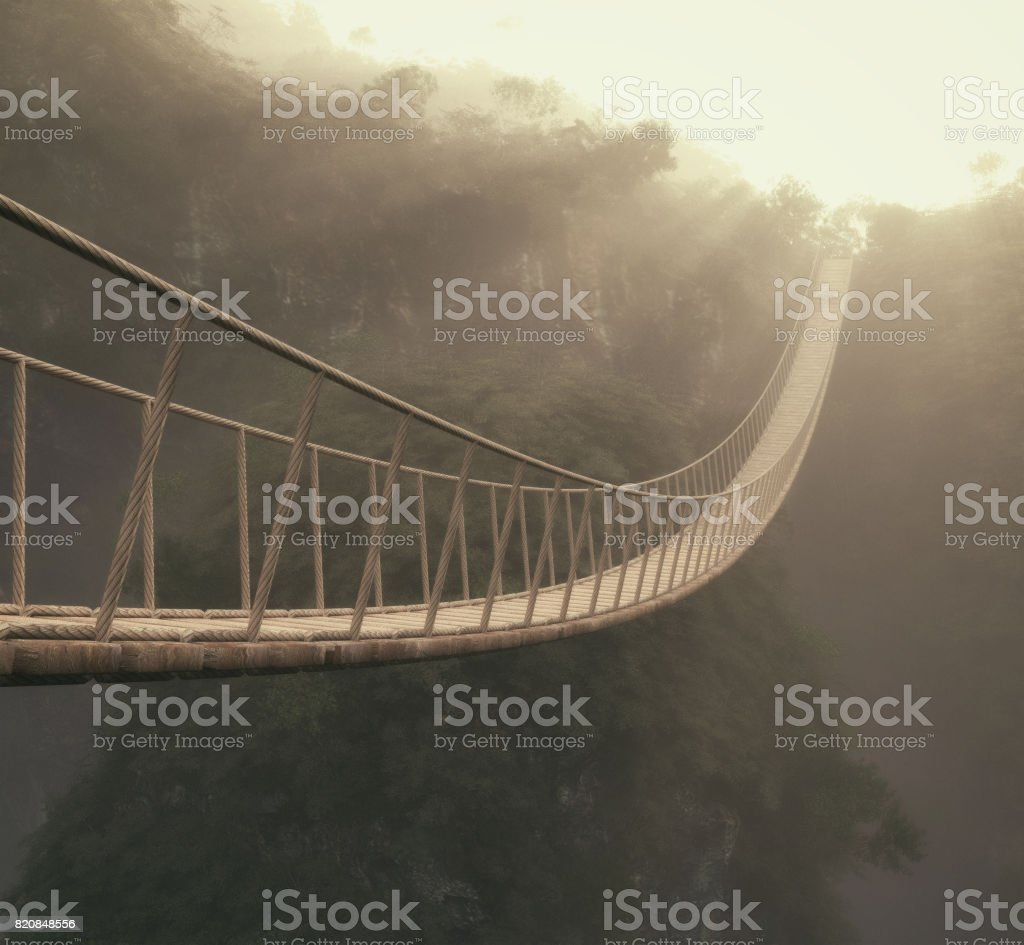 A rope bridge over a trees. stock photo