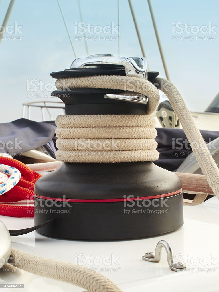 Rope cable winch royalty-free stock photo