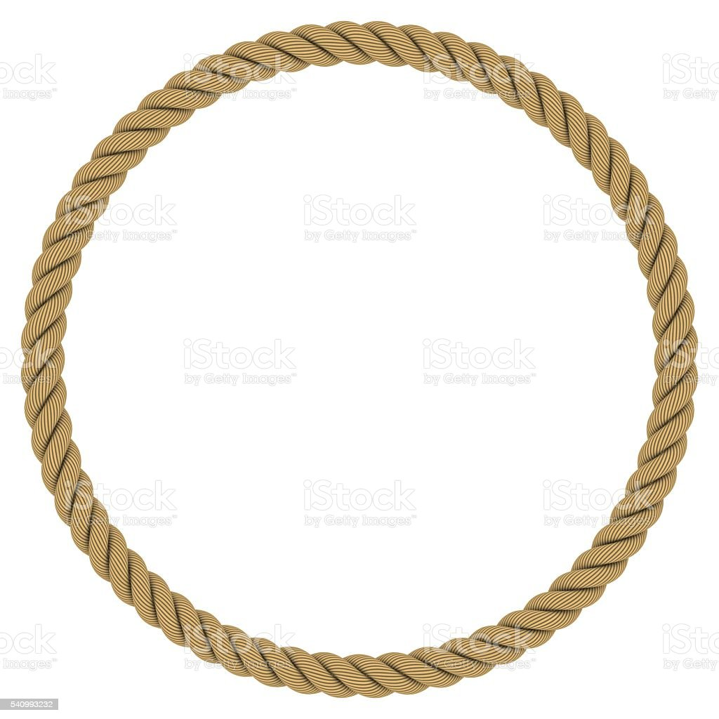 Rope circle circular rope frame isolated on white Rope photo frame
