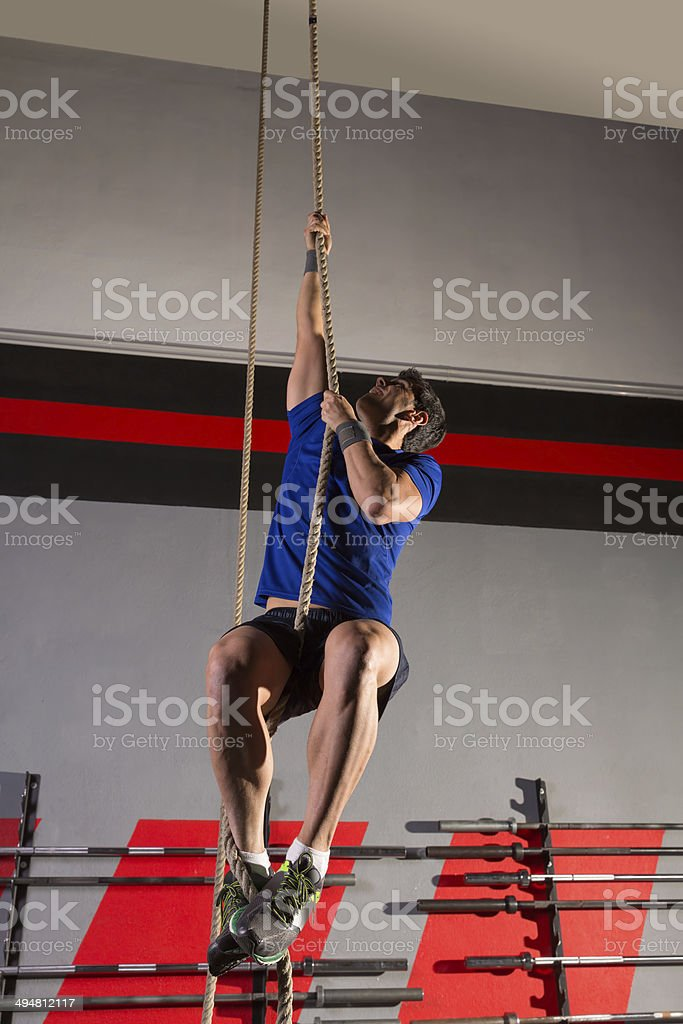 rope climb exercise man workout at gym stock photo more pictures