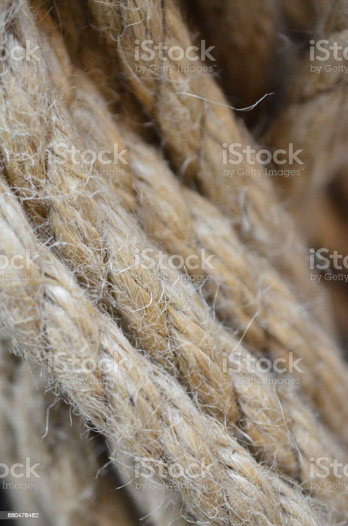 A rope close-up with visible villi. stock photo