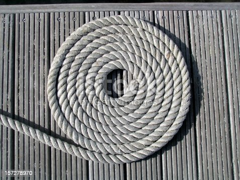 The marina pontoon has many ropes and mooring warps and most are kept shipshape in neat coils.