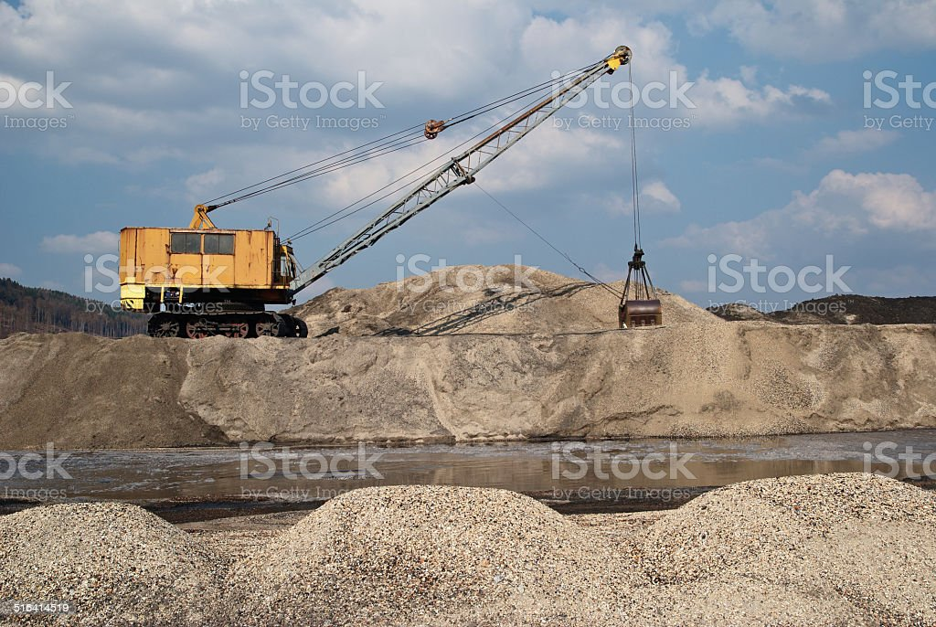Rope excavator for mining sludge stock photo