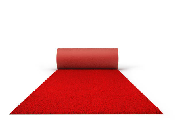 Rope fencing with red carpet isolated on a white background. 3d illustration stock photo