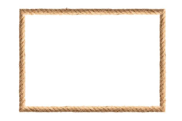 rope frame isolated on white background - верёвка стоковые фото и изображения