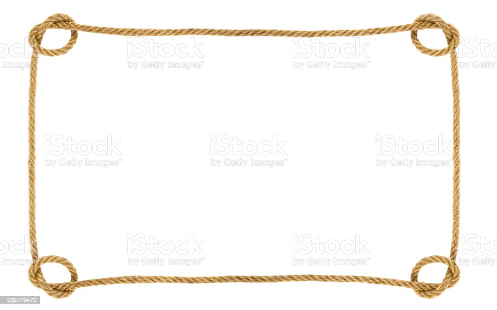 Rope frame isolated on white background stock photo