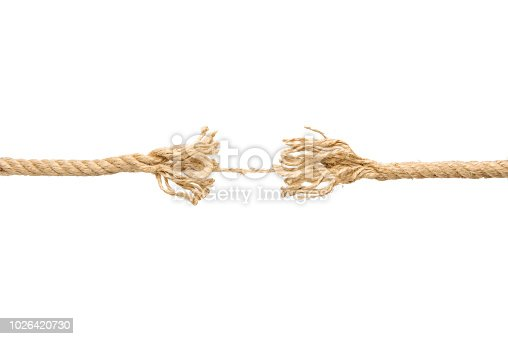 Rope Frayed In Tension isolated on white background