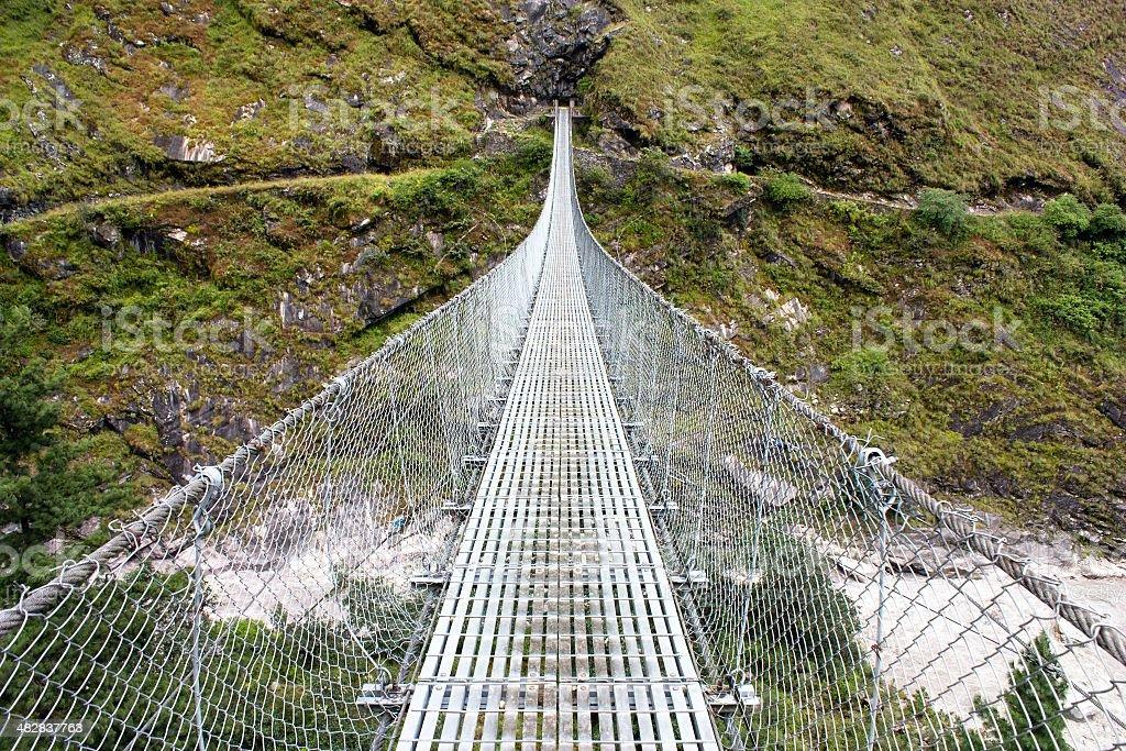 rope hanging suspension bridge royalty-free stock photo