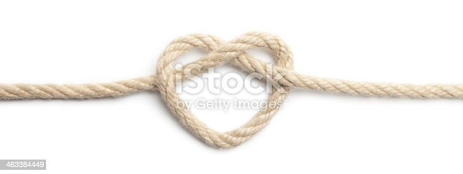Close up of rope heart on white background. This file is cleaned, retouched and contains