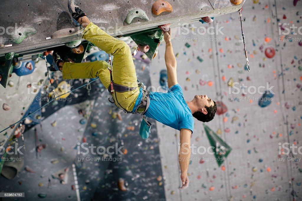Rope indoor climbing and training. stock photo