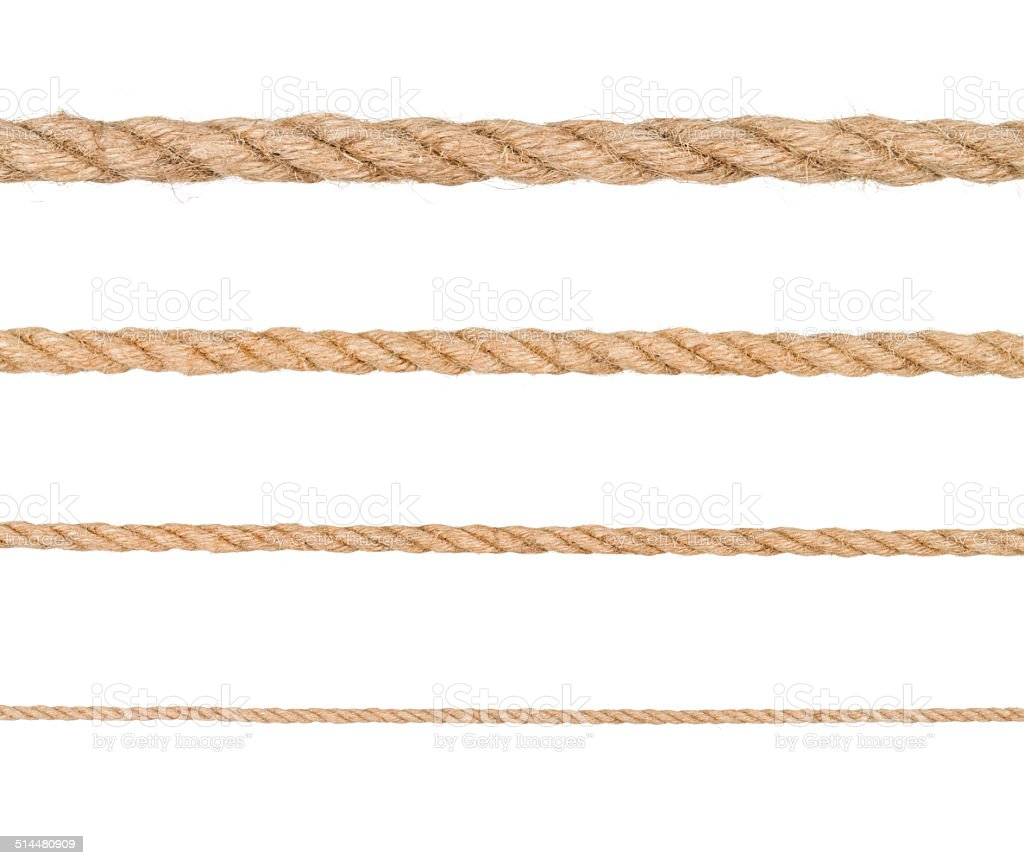 Rope isolated. Collection of different hemp ropes stock photo