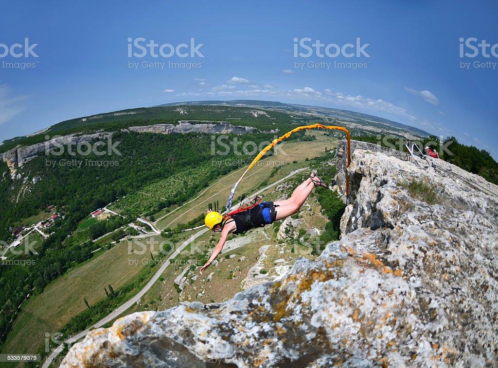 Rope jumping.Crimea. Kachy-Kalion stock photo