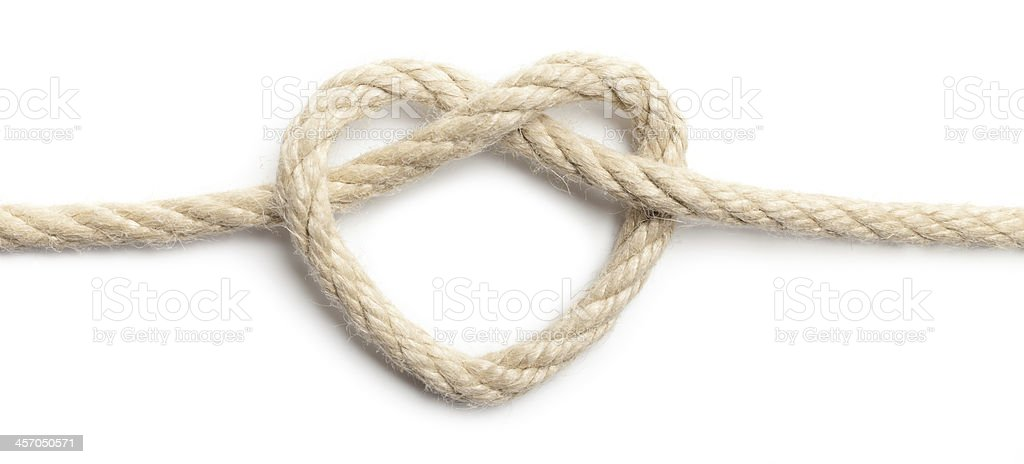 Rope laced in the shape of a heart stock photo