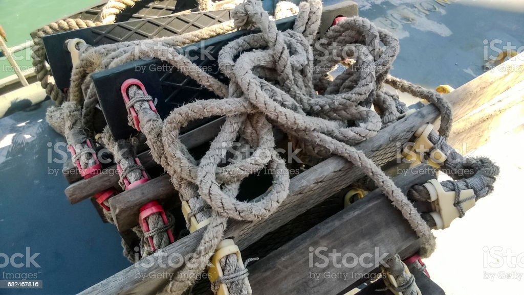 Rope ladder on the ship. Rope and wood royalty-free stock photo