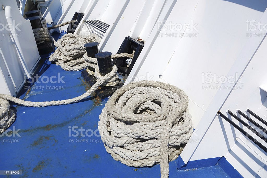 Rope on boat royalty-free stock photo