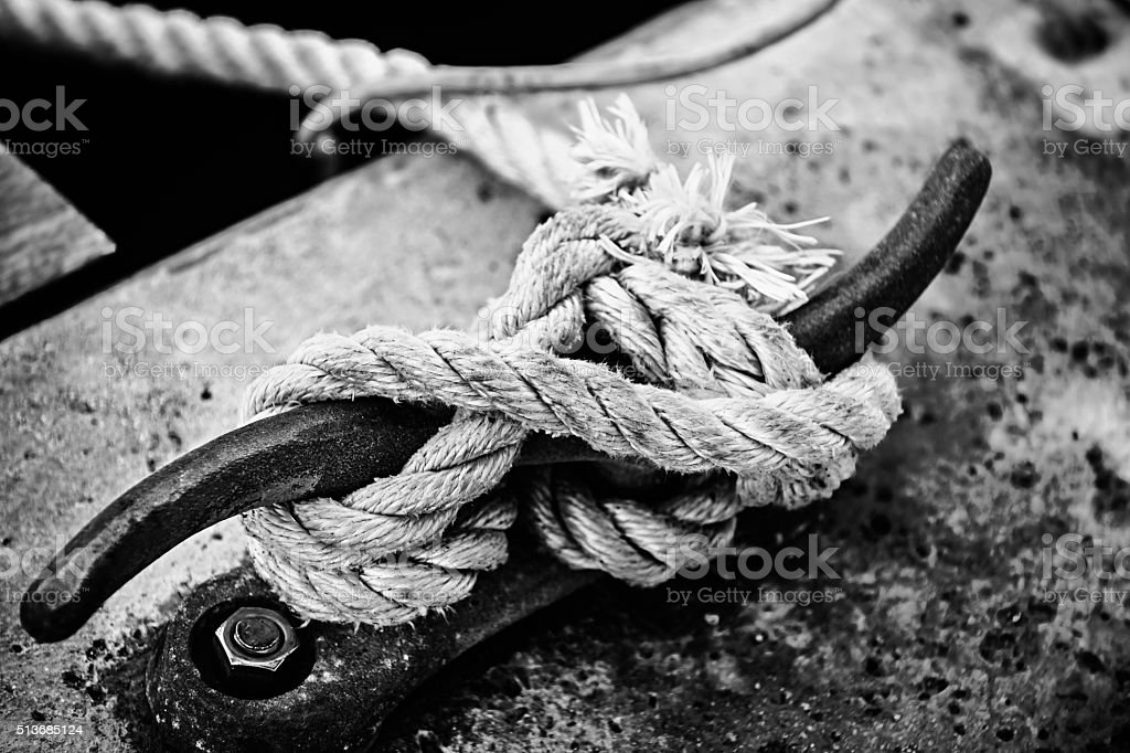 Rope on cleat stock photo
