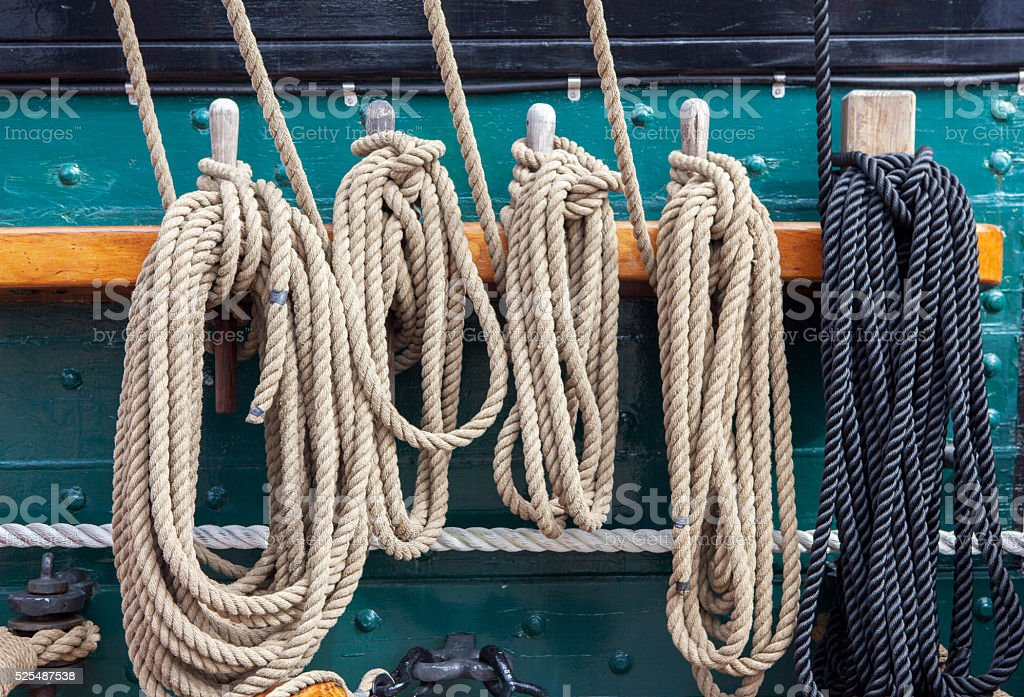 Rope on deck stock photo
