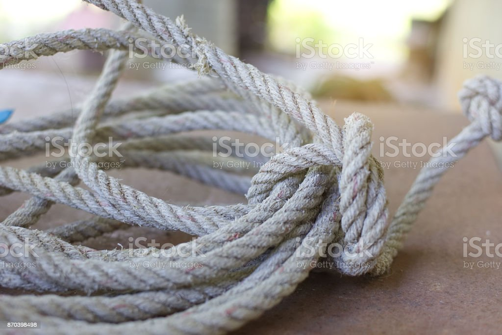 Rope on iron background with soft light. stock photo