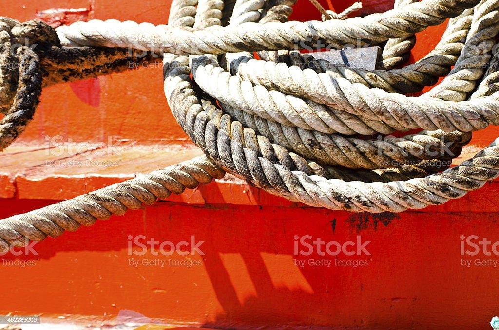 Rope on sailing tonnage. royalty-free stock photo