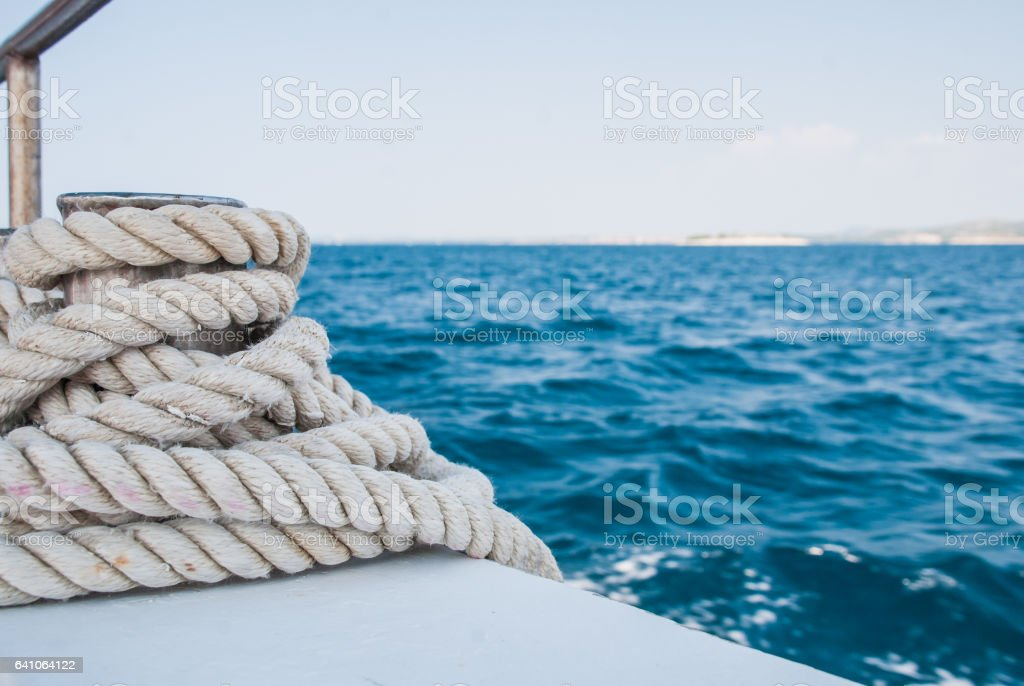 Rope on the boat - detail stock photo