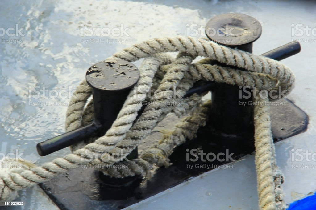 Rope on the prow stock photo