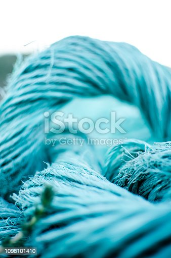 rope or blue net made of plastic fiber seen from very close