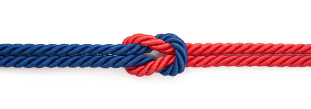 Rope Red and blue rope on a white background sailor stock pictures, royalty-free photos & images