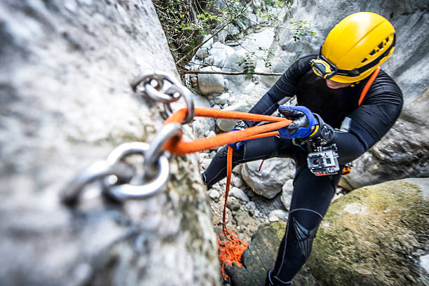 rope secure system - clambering stock photos and pictures
