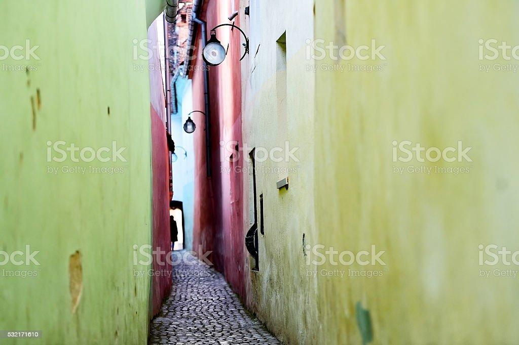 Rope Street in Transylvania's Brasov stock photo