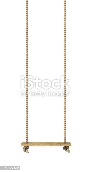 Rope swing isolated on white.Could be useful in a playground composition.This is a detailed 3d rendering.