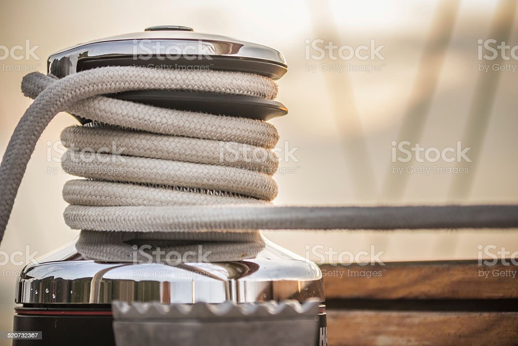 Rope Winch on Sailing Yacht stock photo