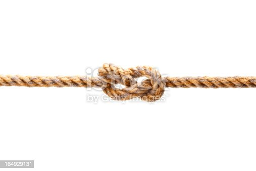 Closeup shot of a rope with a knot, Isolated on white background.