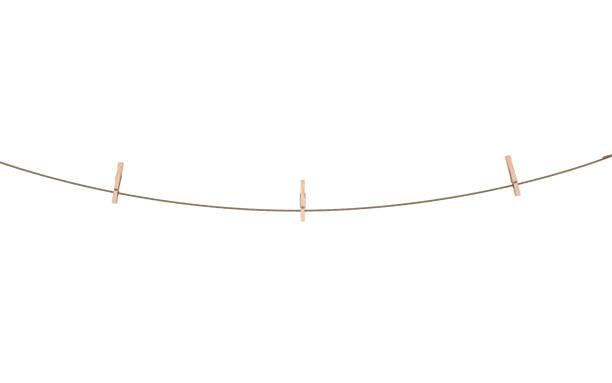 Seil mit Wäscheklammer isoliert 3d illustration – Foto