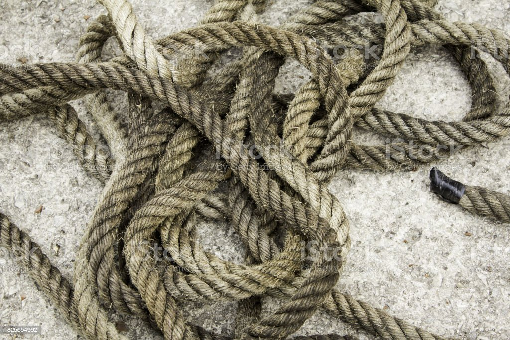 Rope with fiber knots stock photo