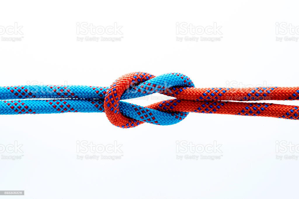 Rope with reef knot isolated on white background - foto de stock