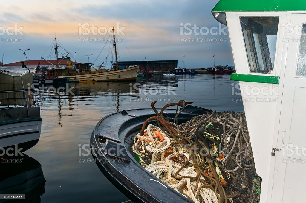Ropes and anchor on bow boat royalty-free stock photo