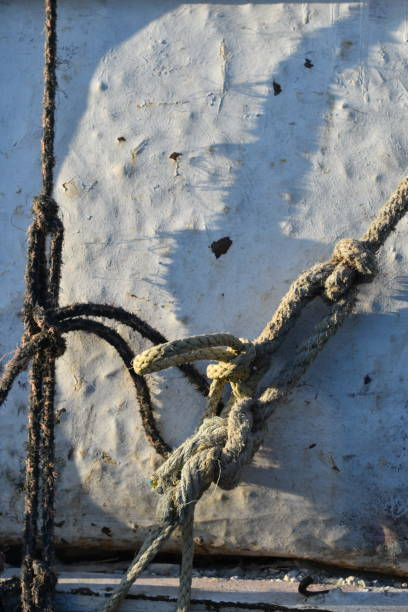 ropes and battered truck bed - steven harrie stock photos and pictures