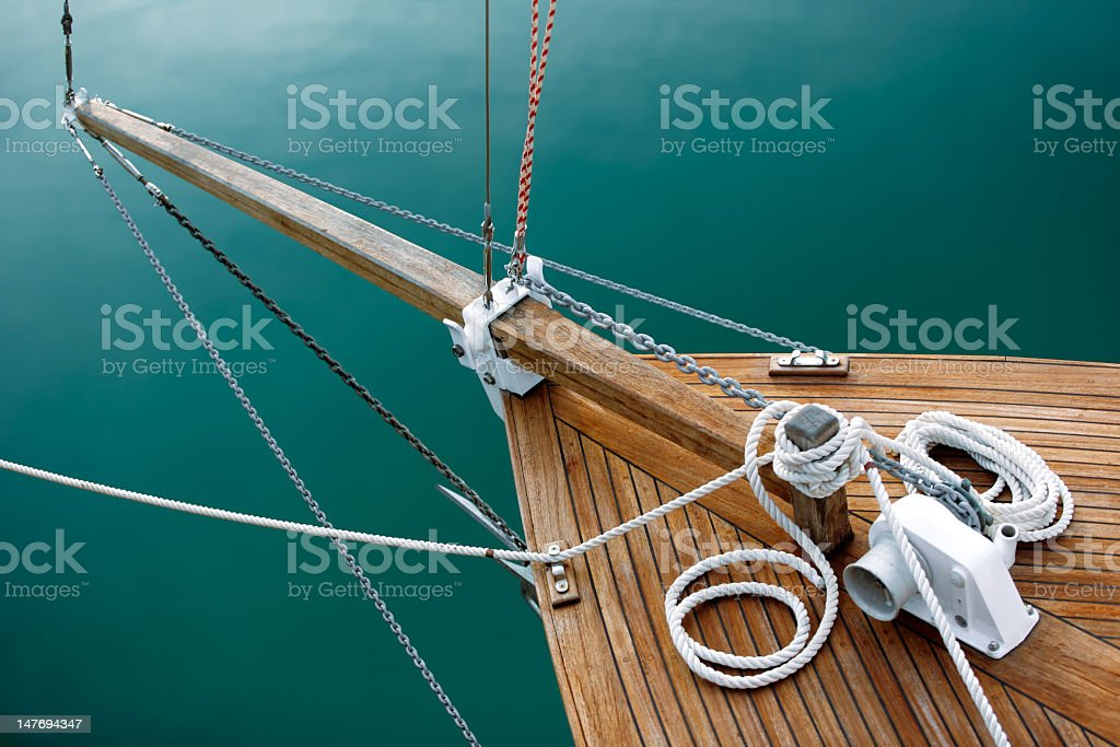 Ropes and deck on blue stock photo