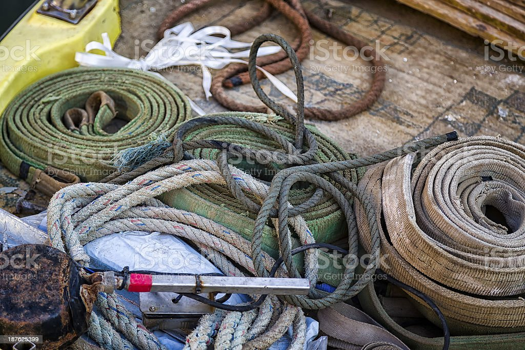 Ropes and Industrial Tools on a Boat stock photo