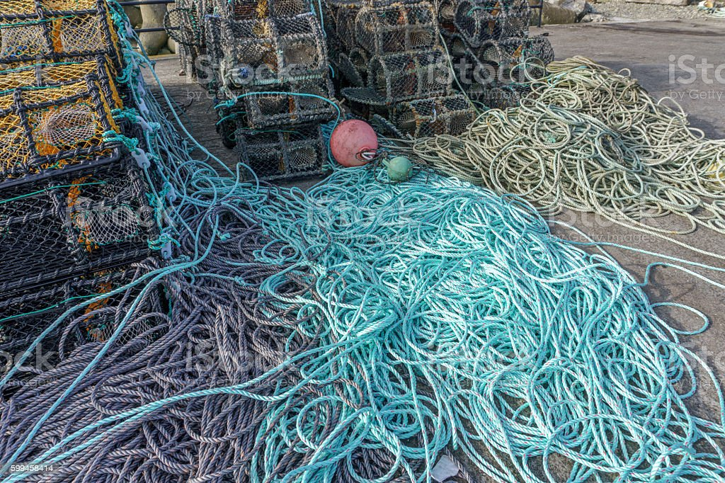 Ropes and lobster pots on harbour at Kilmore Quay, Ireland stock photo