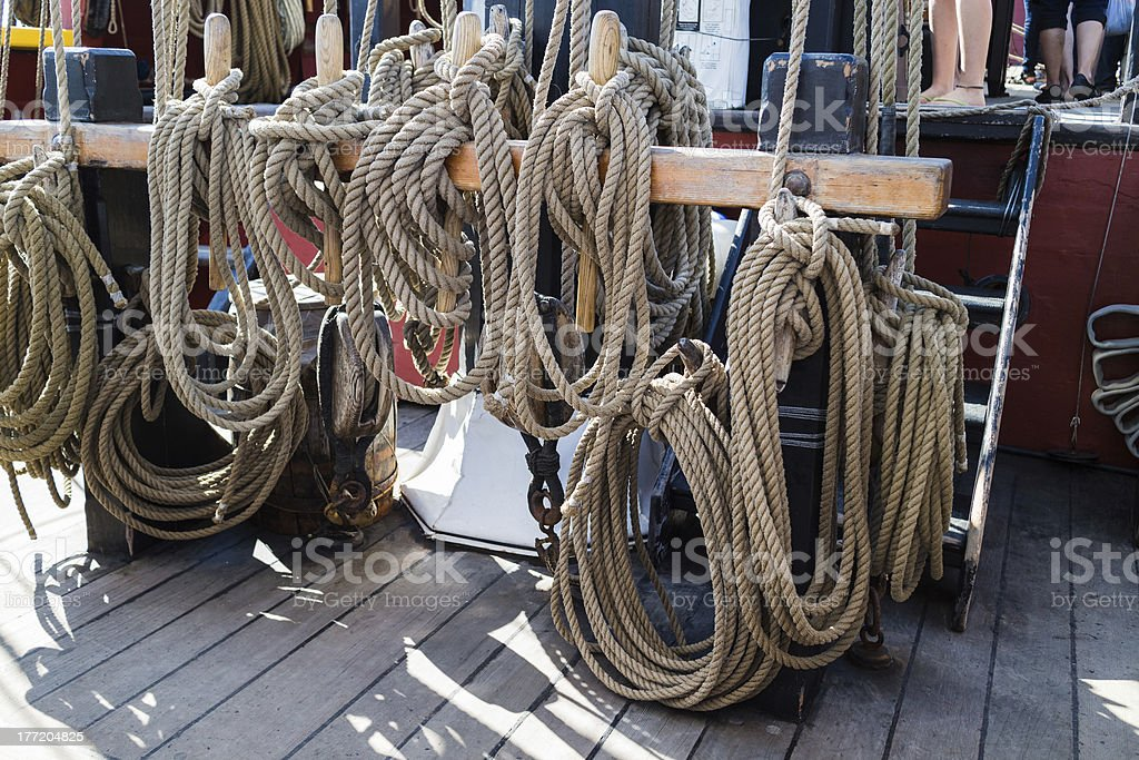 ropes and rigging on old vessel royalty-free stock photo