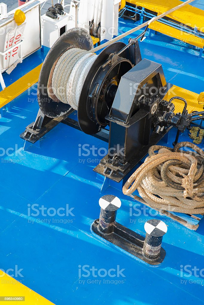 ropes and tie rods on the deck of the ship royalty-free stock photo